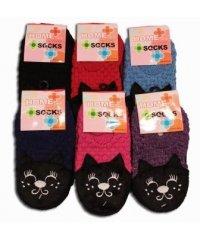 """Шкарпетки-тапочки """"Кошка"""", микс"""