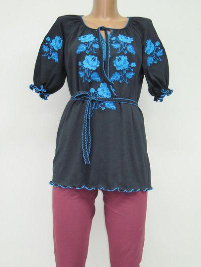 Туника Голубая роза вышивка женская интерлок NCL630 оптом дешево ... ec9d785c33558